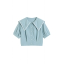 Simple Girls Pleated Button Down Patchwork Sailor Collar Short Puff Sleeve Regular Fit Crop Blouse in Blue