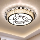 Stainless-Steel Drum Ceiling Mounted Lamp Contemporary LED Crystal Flushmount Lighting