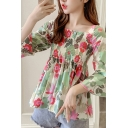 Popular All over Flower Printed Bell Sleeve Square Neck Ruffled Trim Relaxed Fit Blouse Top for Women