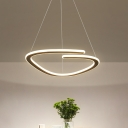 Curved Line LED Chandelier Pendant Minimal Acrylic Black Hanging Pendant Light in Warm/White Light