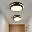 Round Mini Corridor Ceiling Lamp Acrylic Nordic Style LED Flush Mount Recessed Lighting in Black, Warm/White Light