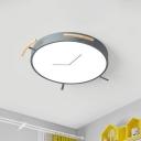 Grey Alarm Clock Shape Flush Mount Lamp Nordic LED Metallic Ceiling Light Fixture