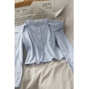 Gorgeous Striped Button Down Off the Shoulder Long Sleeve Regular Fit Cami Blouse for Ladies