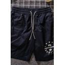 Mens Casual Shorts Stars Letter Badfive Print Zipper Drawstring Waist Pocket Regular Fit Knee Length Sweat Shorts