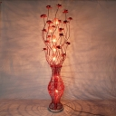 Red Lotus and Vase Floor Standing Light Art Deco Aluminum Wire Living Room LED Floor Lamp