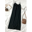Gorgeous Womens Solid Color Ruched Pleated Slit V Neck Sleeveless Midi Cami Dress in Black