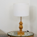 Gold Pinecone Table Lighting Traditional Wood 1 Bulb Parlour Fabric Nightstand Lamp
