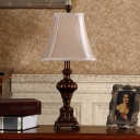 Fabric Empire Shade Desk Light Countryside Single Study Room Reading Book Lamp with Square Pedestal in Brown