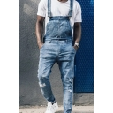 Stylish Overalls Ripped Pocket Full Length Relaxed Fitted Overall Jeans for Men