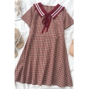 Chic Womens Plaid Patchwork Tie Sailor Collar Short Sleeve Midi Plus Size Dress in Red