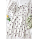 Fancy Womens Ditsy Floral Printed Bow Cut Out Ruffle Trim Square Neck Short Puff Sleeve Midi A Line Dress in White
