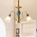 Country Style Floral Down Lighting 3/5/6 Heads Opal Frosted Glass Hanging Chandelier with Green Ceramics Detail in Brass