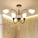 6/9/12-Bulb Conic Chandelier Light Fixture Country Black Finish Opal Glass Ceiling Suspension Lamp