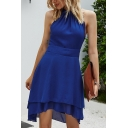 Boutique Ladies Solid Color Sleeveless Crew Neck Cut out Back Bi-layered Short Pleated A-line Dress