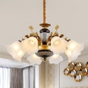 6/8/10-Head Ceramics Chandelier Light Floral Shade Milky Glass Ceiling Hang Fixture in Black and Gold