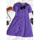 Classic Womens Button Down Bow Contrast Piped Pleated Sailor Collar Short Puff Sleeve Midi A Line Dress in Purple