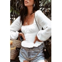 Pretty Womens Long Sleeve Square Neck Ruched Ruffled Hem Slim Fit T-shirt in White