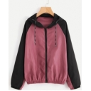 Trendy Colorblock Two-Tone Long Sleeve Hooded Zip Up Burgundy Track Coat