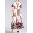 Pretty Womens Ditsy Floral Printed Short Sleeve V-neck Long A-line Dress in White