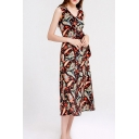 Amazing Paisley Pattern Sleeveless V-neck Bow Tied Waist Mid A-line Dress for Ladies