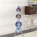 Aluminum Wire 3-Ball Floor Lamp with Tower Design Decorative LED Parlour Floor Standing Light in Blue-Yellow-Purple
