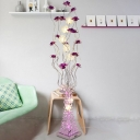 Aluminum Wire Flower Standing Floor Lamp Art Deco LED Parlour Tree Floor Light in Purple
