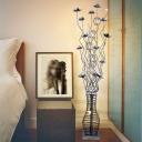 Decorative Flower and Vase Floor Light Aluminum Wire LED Standing Floor Lamp in Red/Black and Silver for Bedside