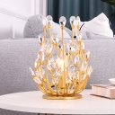 Gold 1-Light Nightstand Lamp Modern Style Faceted Cut Crystal Leaf Table Lighting