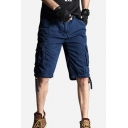 Cool Men's Shorts Solid Color Zipper Drawstring Button Detail Straight Fit Knee-length Cargo Shorts with Flap Pockets