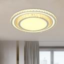 Round/Square Crystal Ceiling Flush Light Minimalist Bedroom LED Flush Mount Fixture in White