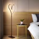 Loving Heart Shape Bedside Standing Lamp Acrylic LED Modernist Floor Lighting in Coffee, White/Warm Light
