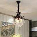 Waterfall Cut Crystal Teardrops Pendant Modern 3 Lights Dining Room Hanging Chandelier in Black