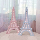 Pink/Blue Eiffel Tower Small Night Light Cartoon LED Wooden Wall Mounted Lamp for Bedroom