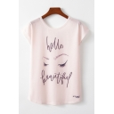 Girls Pretty Letter Hello Beautiful Cartoon Face Graphic Short Sleeve Round Neck Loose Fit T-shirt