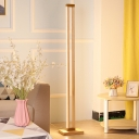 Beige Rectangular Stand Up Light Minimalist LED Wood Floor Standing Lamp for Living Room