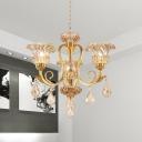 Flower Crystal Hanging Light Kit 3-Light Living Room Chandelier Lamp Fixture in Gold