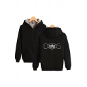 Casual Letter Dog Graphic Long Sleeve Zipper Front Relaxed Fit Hoodie for Guys