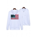 Stylish Mens Flag Pattern Long Sleeve Drawstring Zipper Front Relaxed Hoodie