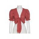 Pretty Girls Checkered Print Puff Sleeves Deep V-neck Bow Tie Front Fit Cropped T-shirt in Red