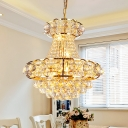 Modern Style Empire Chandelier 6-Head Crystal Ceiling Pendant in Gold for Dining Hall