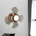 Small LED Wall Mount Lamp Modern Four Petals Clear Seedy Crystal Sconce Light Fixture