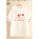 Stylish Letter Lovely Strawberries Cartoon Strawberry Graphic Short Sleeve Drawstring Hooded Relaxed Fit T Shirt