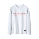 Popular Mens Letter Punch Me in the Face Printed Long Sleeve Round Neck Regular Fit Tee Top