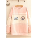Lovely Girls Sherpa Liner Cartoon Embroidered Contrasted Long Sleeve Round Neck Long Relaxed Pullover Sweatshirt