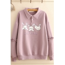 Lovely Girls Letter Mr Baby Rabbit Graphic Stringy Selvedge Long Sleeve Point Collar Button up Loose Fit Pullover Sweatshirt in Purple