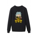 Cool Character Gas Mask Pattern Pullover Long Sleeve Round Neck Regular Fitted Sweatshirt for Men