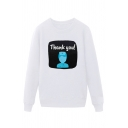 Trendy Nurse Letter Thank You Printed Pullover Long Sleeve Round Neck Regular Fitted Graphic Sweatshirt for Men