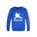 Dressy Mens Character Pattern Letter Karate Long Sleeve Round Neck Fitted Graphic Pullover Sweatshirt