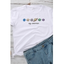 Chic Womens Letter My Universe Planet Graphic Rolled Short Sleeve Crew Neck Slim Fit T-shirt