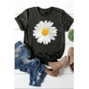 Casual Single Daisy Flower Print Rolled Short Sleeve Crew Neck Fit T Shirt for Girls